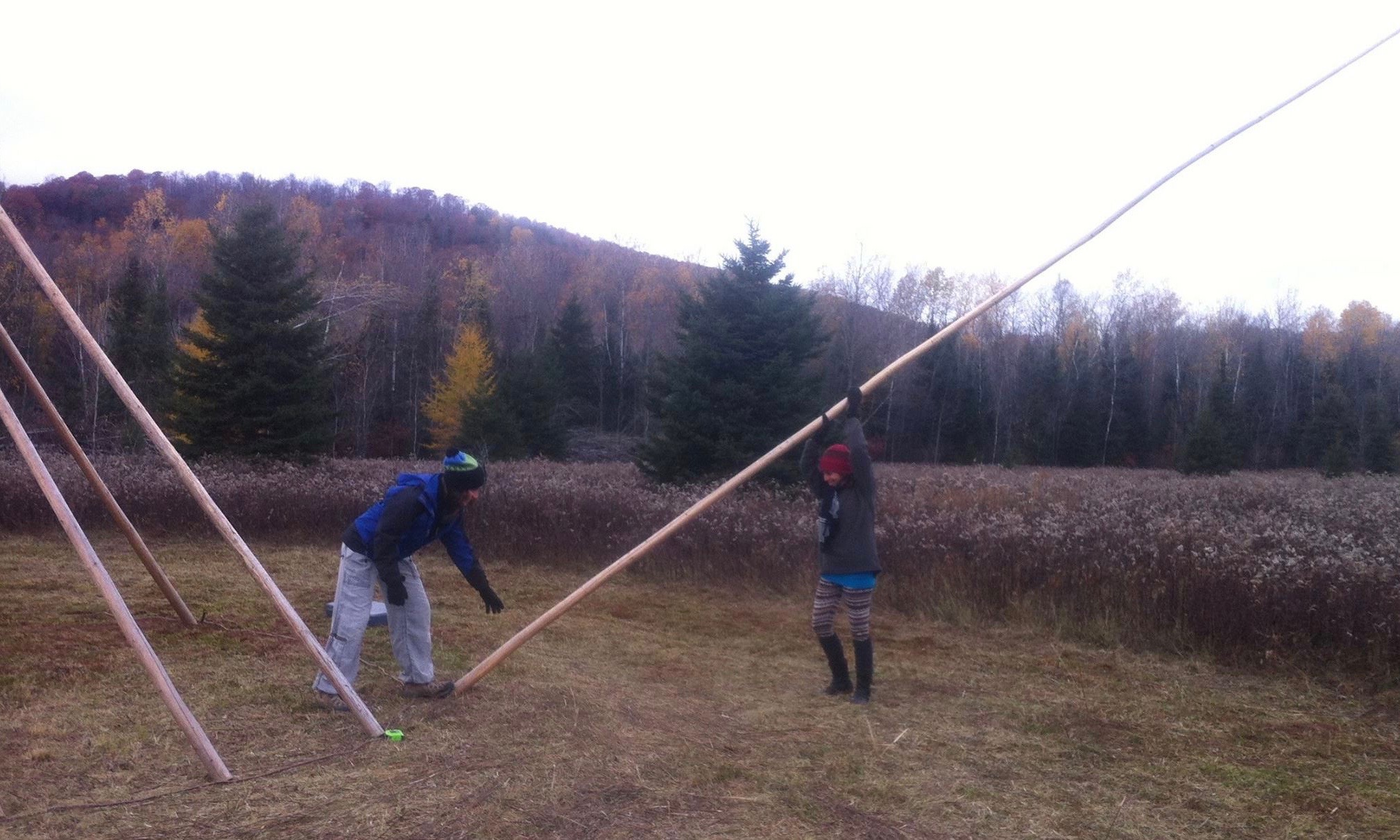 Putting up the Tipi for Samhain