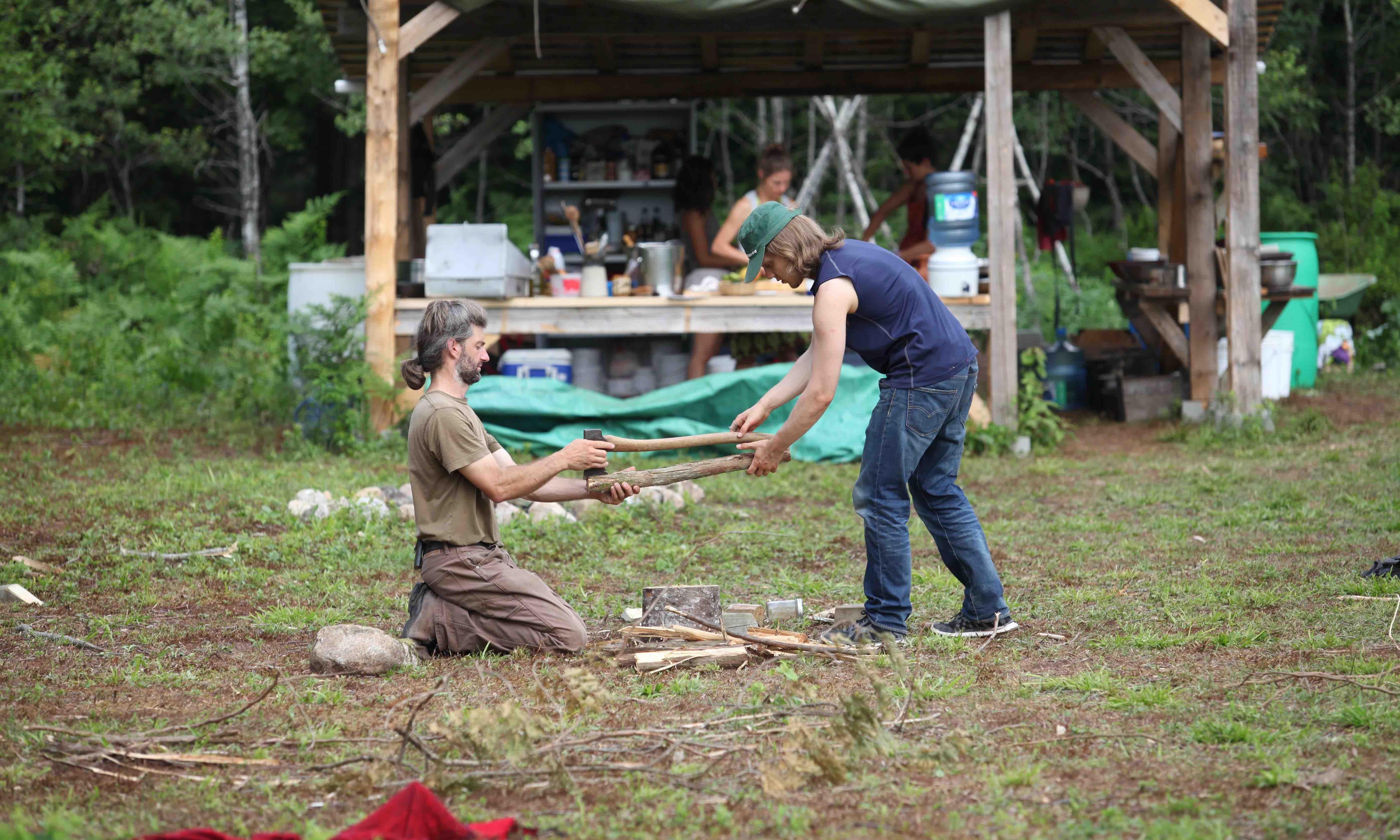 Slicing wood teaching