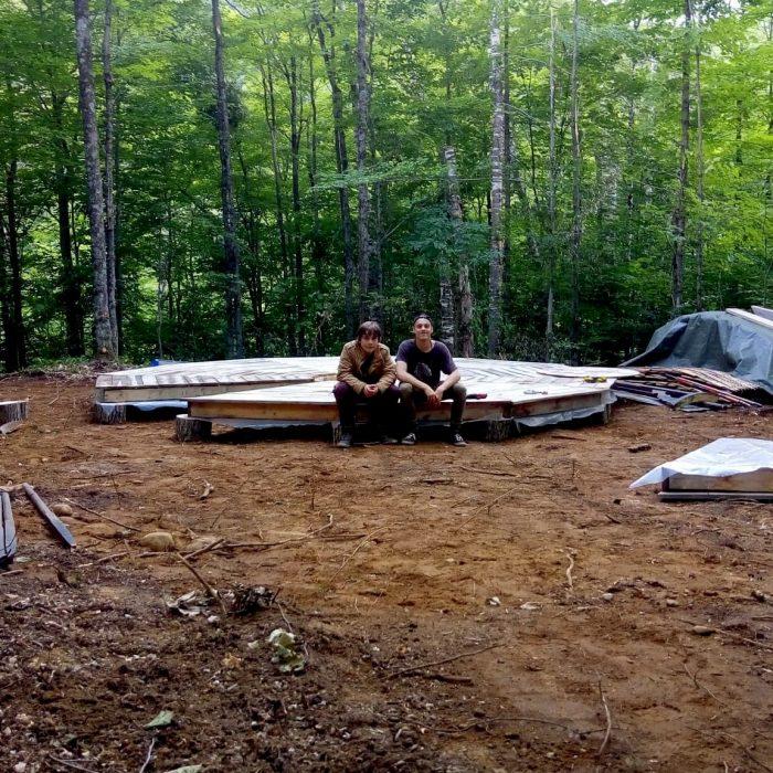 Yurt floor with Nadjel and Antoine